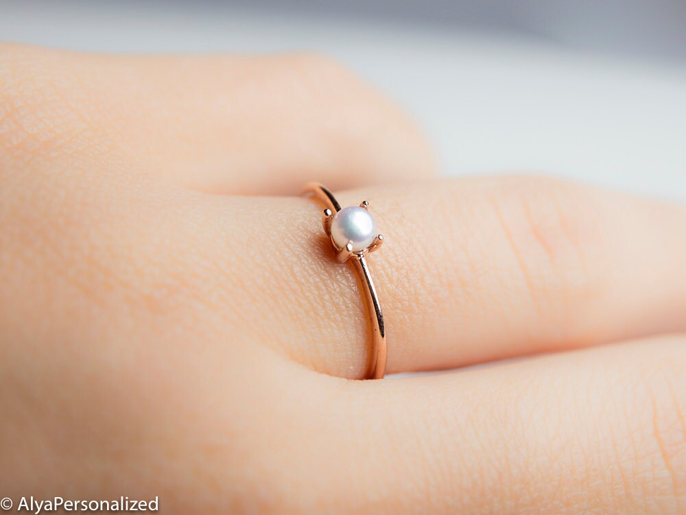 Simple Pearl Ring 14K Gold Ring Simple Engagement Ring