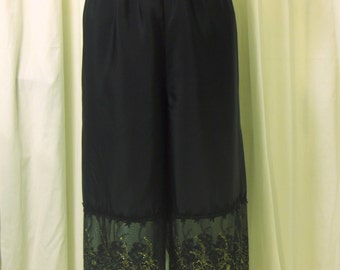 Black Bloomers, Pantaloons, Knickers, Gothic Bloomers in Polyester Crepe de Chine w/ Semi-Sheer Black & Gold Embroidered Trim, Size M