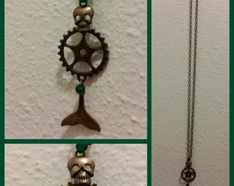 Steampunk Mermaid Skeleton Necklace