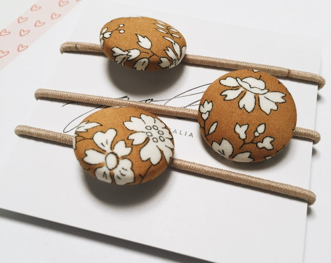 LIBERTY BUTTON Hair-ties Constructed from Liberty Art Cotton Tana Lawn set of three (3) Capel G mustard