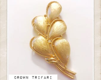 "Fabulous Crown Trifari Gold Plated Brooch, Super Big, 3.25""long, Excellent Vintage Jewelry Gift!"