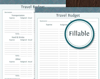 Travel Planner: Travel Budget - Fillable - Instant Download - Printable PDF  - Vacation Planner