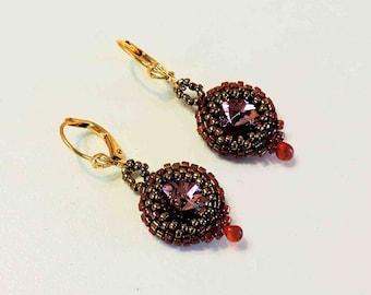 Deep Rose Gold Rivolo and Amber Glass Earrings