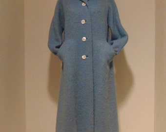 Vintage rockabilly mod hipster 40s 50s 60s baby blue coat jacket mother of pearl Abalone buttons.