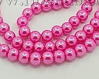 6mm pink glass pearls