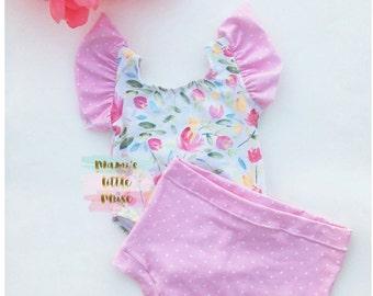 Toddler Girls Floral Set, Girls Leotard, Dance Leotard, Baby Leotard, Pink and White Polka Dots Shorts