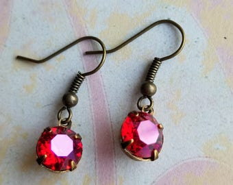 Pink crystal drop earrings, dangle earrings, earrings, jewelry, jewellery, gifts, mother's day gifts, gifts for her, bridal jewelry