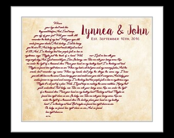 Song lyrics plaque song lyric art leather anniversary gift first anniversary gift personalized wedding anniversary gift custom song lyrics art paper anniversary wedding song lyric art stopboris Gallery