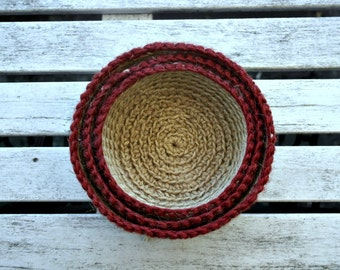 Nesting/Stacking Bowls, Crocheted Jute Stacking Bowls, Crochet Storage Baskets, Natural Jute Basket, Jute Twine Bowls Burgundy rim