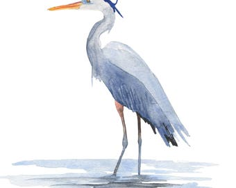 Great Blue Heron Print, Coastal Wall Art, from an Original Watercolor Painting by Kenley Jones