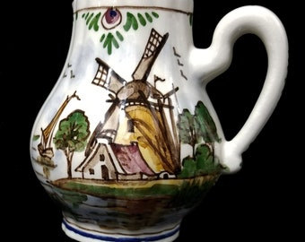 """Vintage DELFT PITCHER or CREAMER, 4.25"""" hand painted windmill design, polychrome china by De Delftse Pauw / green blue red / gift"""
