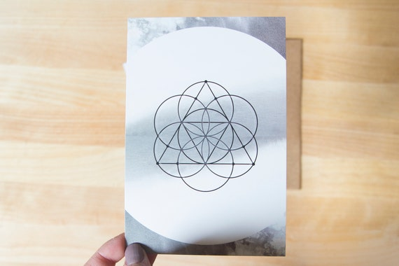 Postcard Style 4x6 Cards - Seed of Life Sacred Geometry Print