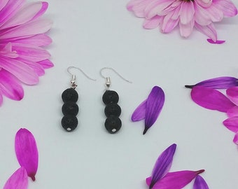 Simple Lava Rock Bead Earrings - Diffuser Earrings