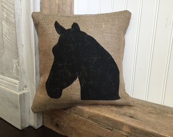 Horse Head, Burlap Pillow, Rustic Decor, Decorative Pillow