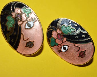 Vintage Cloisonne Flapper Face Flapper Girl Hat Enamel Earrings 1980s