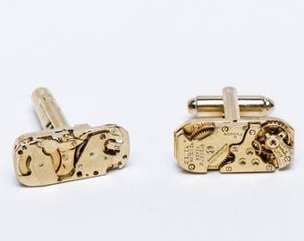 Watch Movement Cufflinks - Gruen Ruby Gold Tone - FREE US Shipping