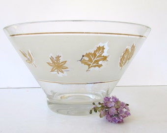 Mid Century Golden Foliage Snack Bowl - Frosted Glass and Metallic Gold Leaves Design - Snack Bowl - Salad Bowl - Punch Bowl -
