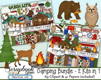 CAMPING BUNDLE - 2 Kits in 1, 69 Cliparts & 41 Papers, Instant Download, hunting, cabin, mountains, nature, outdoors, hiking, woodland, bear