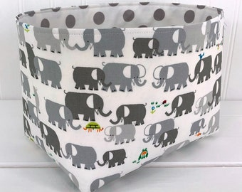Elephant Storage Basket Nursery Decor Home Decor Room Decor Baby Shower Gift Basket Toy Storage Elephants Gray Grey