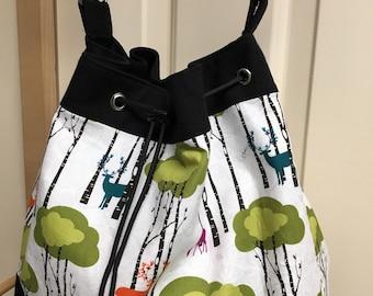 Deer and Woods on White Handmade Draw String Shoulder Bag