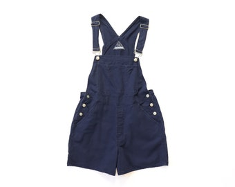 90s Navy Blue Faded Cotton Linen Shortalls Overalls Shorts 1990s Jumper Pinafore Romper Bibs Khaki Worn In Utility Workwear Baggy Medium