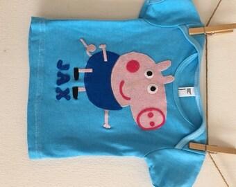 Peppa Pig - George Pig Tshirt - George Pig Party - George Pig Birthday- Personalized - Peppa Pig Party - Peppa Pig birthday