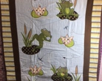 Frogs on Lily Pads Baby Quilt