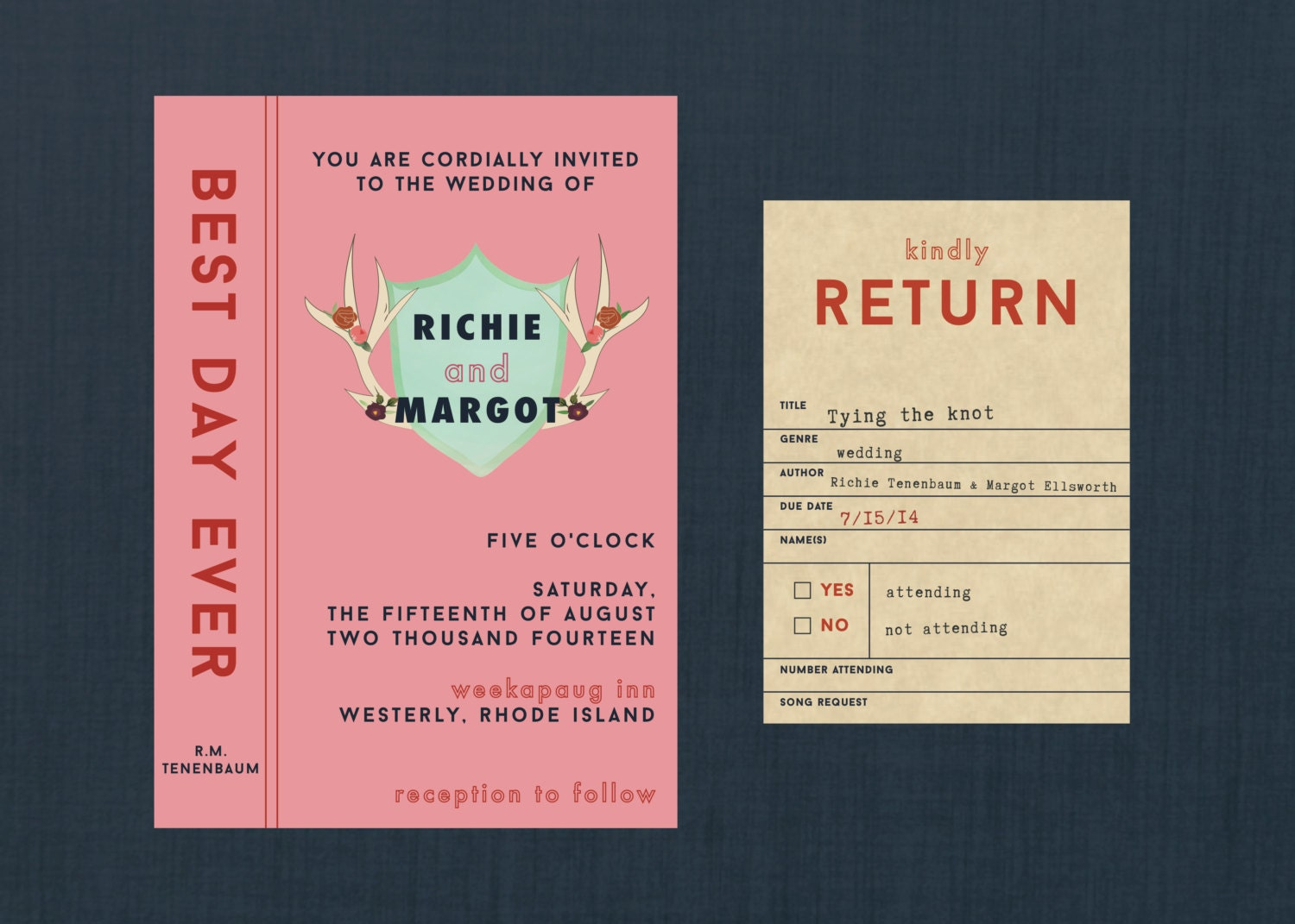 Wes Anderson Styled Library Wedding Invitation // DIY