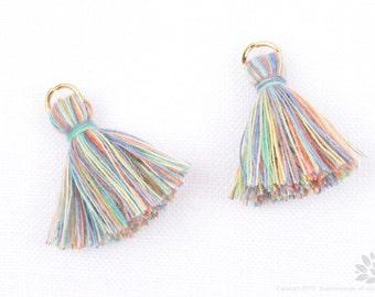 T002-CO-PMR// Pastel Multi Rainbow Cotton Tassel Pendant, 4pcs, 23mm