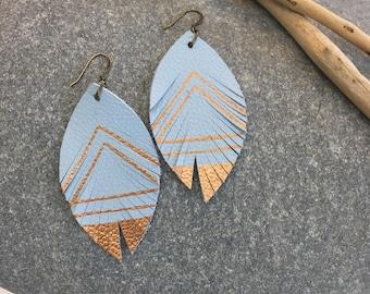 Leather feather metallic earrings in sky blue