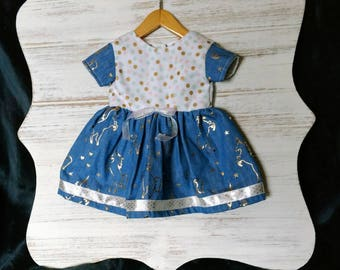 "18"" doll dress unicorn denim & dots"