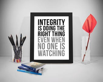 Integrity Quotes, Integrity Is Doing Right Thing, Office Print, Business Inspirational, Office Decor, Office Art, Office Wall Art