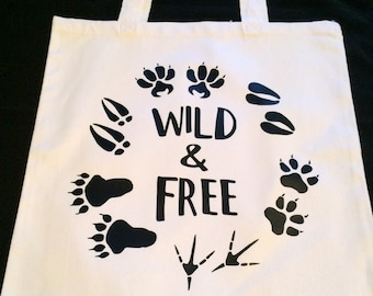Wild and Free - Animal Tracks Tote Bag - Animal Footprints Tote - Outdoor Girl Tote - Country Girl Tote - Female Hunter - Black and White