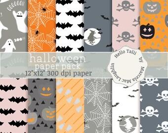 SALE! Halloween Digital Paper- HALLOWEEN Decor Paper Pumpkins Skulls witch brooms bats spider webs ghosts for Halloween Party decorations