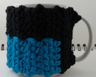 Crocheted Coffee or Ice Cream Cozy in Black and Aqua Cotton with Black Button (SWG-I28)