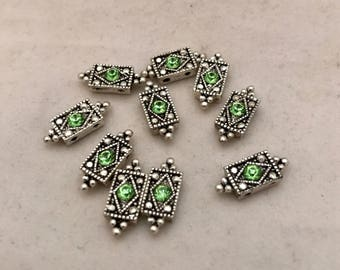 Ten 2 Hole Emerald Green Crystal  Slider Spacer Beads. Antiqued Silver with Peridot  Rhinestones. Diamond Shaped. August  Birthstone