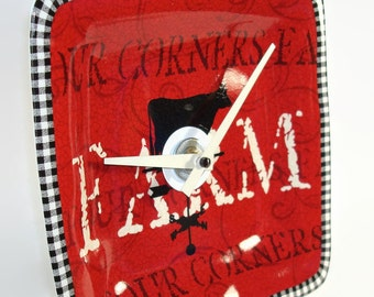 Red Black and White Farm Ceramic Plate Wall Clock No. 723 (8-1/2 inches)
