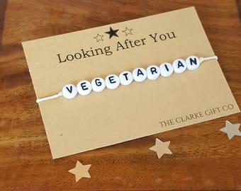 Vegetarian bracelet - Health awareness - Vegetarian awareness -  Beaded Bracelet - Friendship bracelet - Bracelet - Vegetarian
