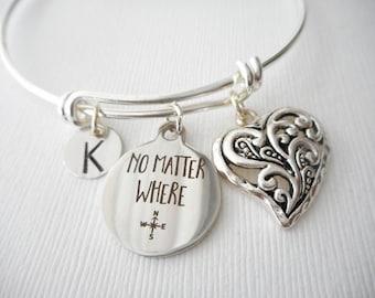 No Matter Where, Heart- Initial Bangle/ Friendship gift, Going Away Gift Her, Friendship Jewelry, Birthday gift, Goodbye Gift, Miss you