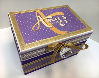 Wedding Recipe Box - Shades of Purple and Gold