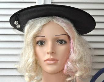 Vintage Womens Black Saucer Hat Velour & Rhinestone Trim 40s 50s 60s Mid Century Headband Fit School Girl Derby Costume Theater Cartwheel