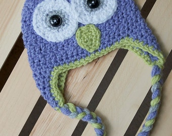 Crochet Owl Beanie with Earflaps and Braids