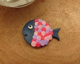 PIN Rainbow badge fish Fimo Navy pink and purple