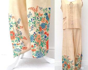 1920s floral raw silk pyjamas Japanese top pants trousers pongee Art Deco antique