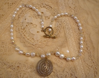 Hand made and designed Pearl Necklace with Glass Button Accent