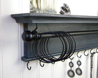 Jewelry Holder Rustic Bracelet Bangles Necklace Organizer Wall Shelf Charcoal Gray