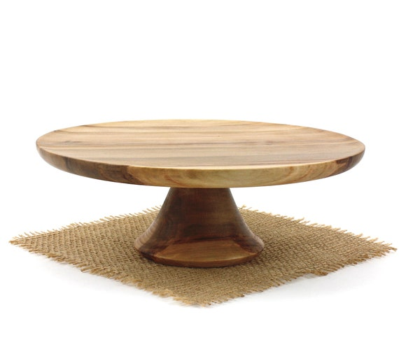 """9"""" Sweet Gum Cake Stand, Wooden Pedestal Cake Plate, Groom Stand, Cupcake Stand"""
