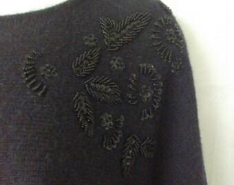 Black Beaded Dolman Sleeve Sweater