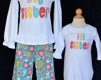 Personalized Big Lil Little Sister Big Lil Little Brother Applique Shirt or Bodysuit Girl or Boy Add Triple Ruffle Pants
