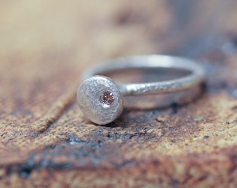 Pure Silver with Cognac Diamond Ring